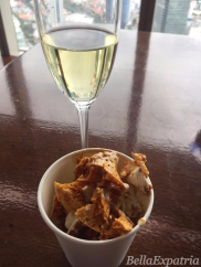 My ice cream teppan topped generously with honeycomb, perfectly paired with sparkling wine