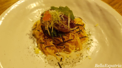 angel hair pasta with foie gras on top