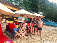 Bella and her Manila friends at the Jimbaran Beach Club